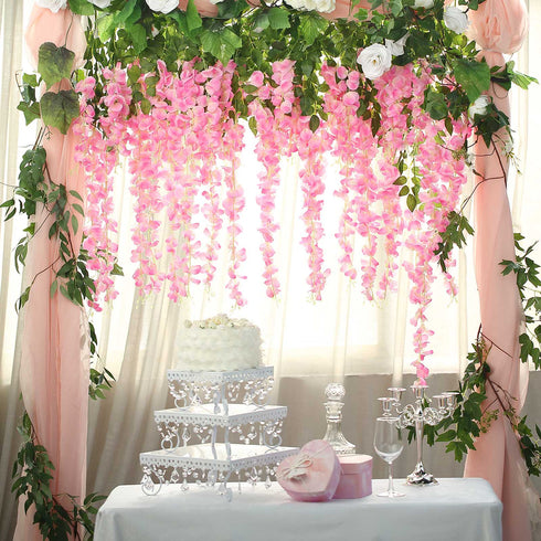 "5 Bushes - 44"" Artificial Wisteria Vine - Ratta Silk Hanging Flower Garland - Pink"