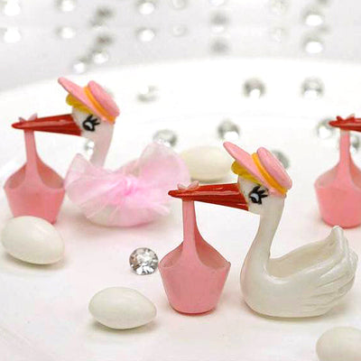 Pink Baby Stork Birthday Shower Party Favors Gift - 12/pk