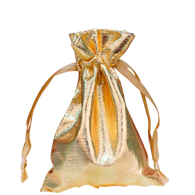 10 Pack Metallic Gold Lame Favor Bags For Wedding Birthday Baby
