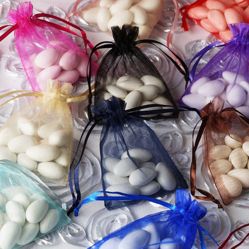 "10 Pack 3x4"" Organza Drawstring Candy Favor Bags - Rose Gold/Blush"