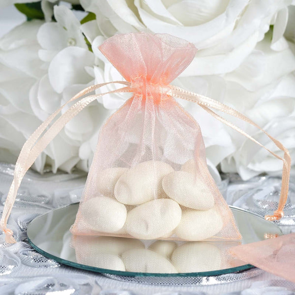 "Pack of 10 - 3""x4"" Organza Drawstring Pouch Candy Favor Bags, Gift Bags for Wedding Favors - Blush,Rose Gold"