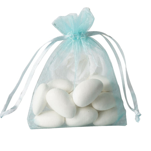 "10 Pack 3x4"" Baby Blue Organza Drawstring Party Favor Gift Pouch Candy Bags For Wedding Birthday Baby Shower"