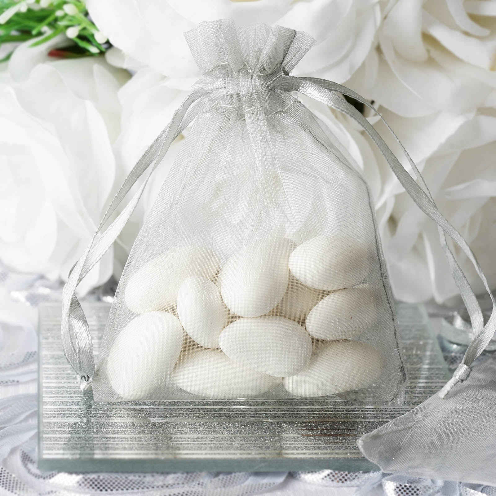 10 Pack 3x4 Silver Organza Drawstring Party Favor Gift Pouch Candy