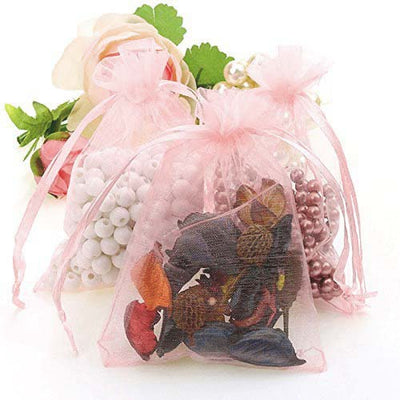 "10 Pack 4x6"" Organza Drawstring Candy Favor Bags - Blush 