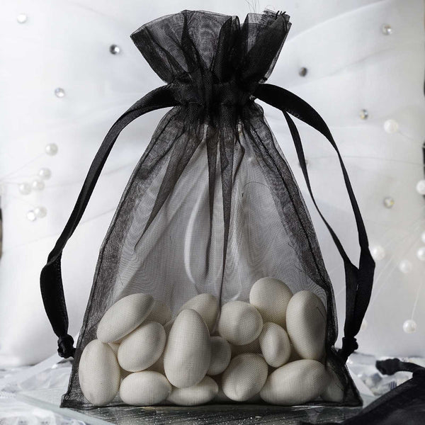 "Pack of 10 - 4""x6"" Black Organza Drawstring Pouch Candy Favor Bags, Gift Bags for Wedding Favors"