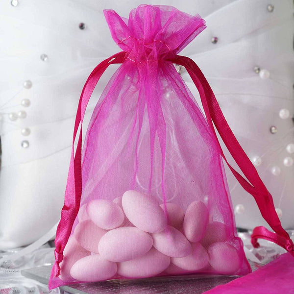"Pack of 10 - 4""x6"" Fuchsia Organza Drawstring Pouch Candy Favor Bags, Gift Bags for Wedding Favors"
