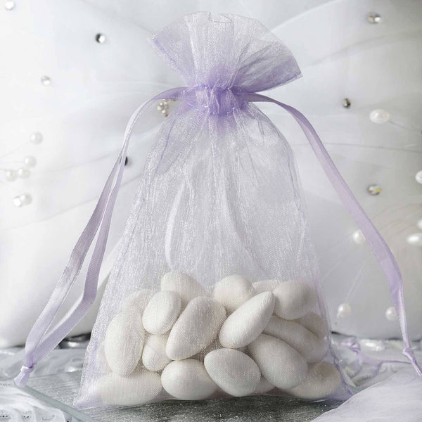 "Pack of 10 - 4x6"" Lavender Organza Drawstring Pouch Candy Favor Bags, Gift Bags for Wedding Favors"