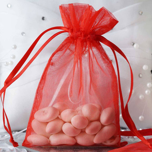 "Pack of 10 - 4x6"" Red Organza Drawstring Pouch Candy Favor Bags, Gift Bags for Wedding Favors"