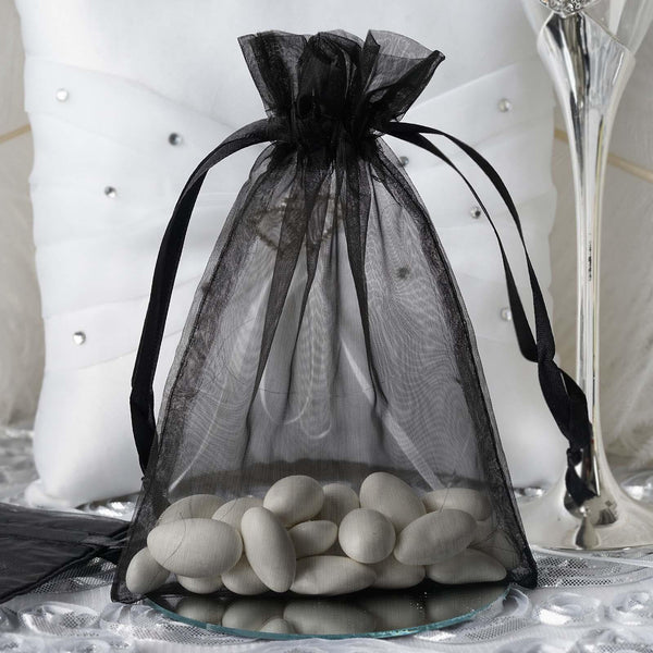 "Pack of 10 - 5""x7"" Black Organza Drawstring Pouch Candy Favor Bags, Gift Bags for Wedding Favors"