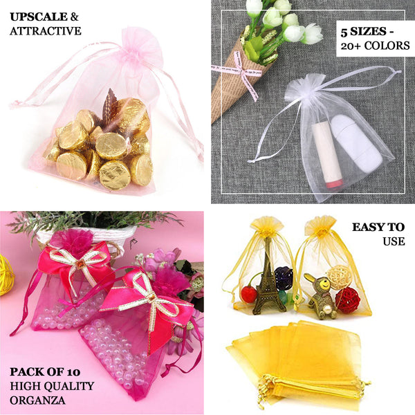 SALE 12 Large Golden Yellow Organza Favour Gift Bags