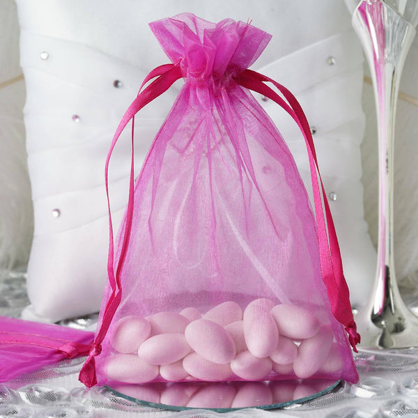 "Pack of 10 - 5""x7"" Fushia Organza Drawstring Pouch Candy Favor Bags, Gift Bags for Wedding Favors"