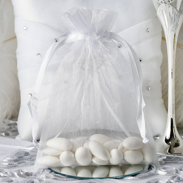 "Pack of 10 - 5""x7"" White Organza Drawstring Pouch Candy Favor Bags, Gift Bags for Wedding Favors"