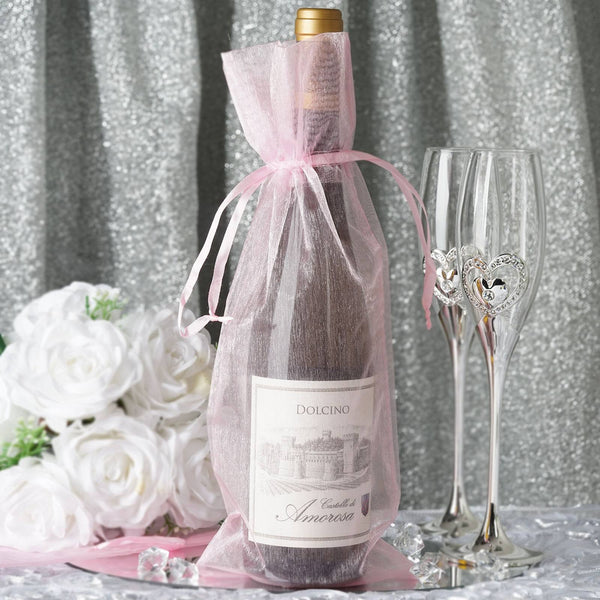 "10 Pack - 6""x15"" Pink Organza Wine Bag, Drawstring Pouch Candy Favor Bags"