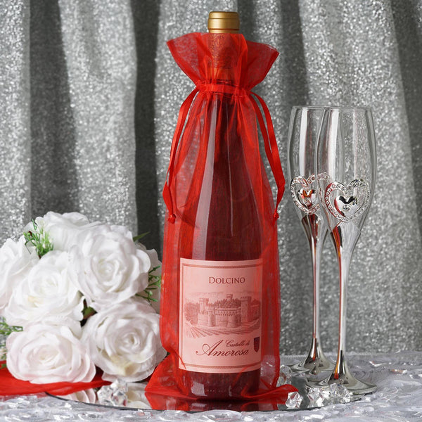 "10 Pack - 6""x15""  Red Organza Wine Bag, Drawstring Pouch Candy Favor Bags"
