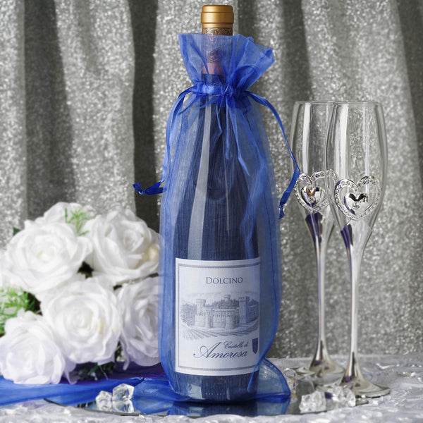 "10 Pack - 6""x15""  Royal Blue Organza Wine Bag, Drawstring Pouch Candy Favor Bags"
