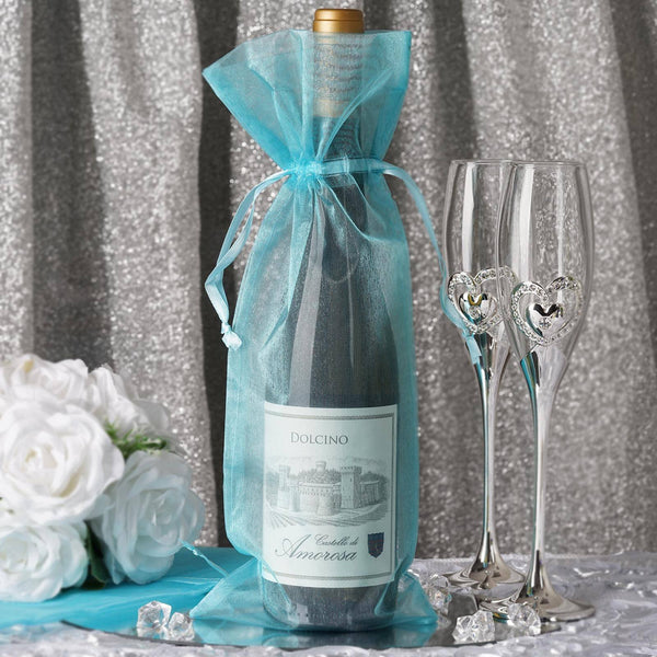 "10 Pack - 6""x15""  Turquoise Organza Wine Bag, Drawstring Pouch Candy Favor Bags"