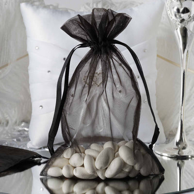 "10 Pack | 6""x9"" Black Organza Favor Bags Party Drawstring Pouches"
