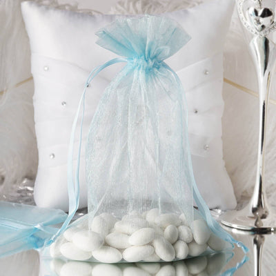 "10 Pack | 6""x9"" Baby Blue Organza Favor Bags Party Drawstring Pouches"