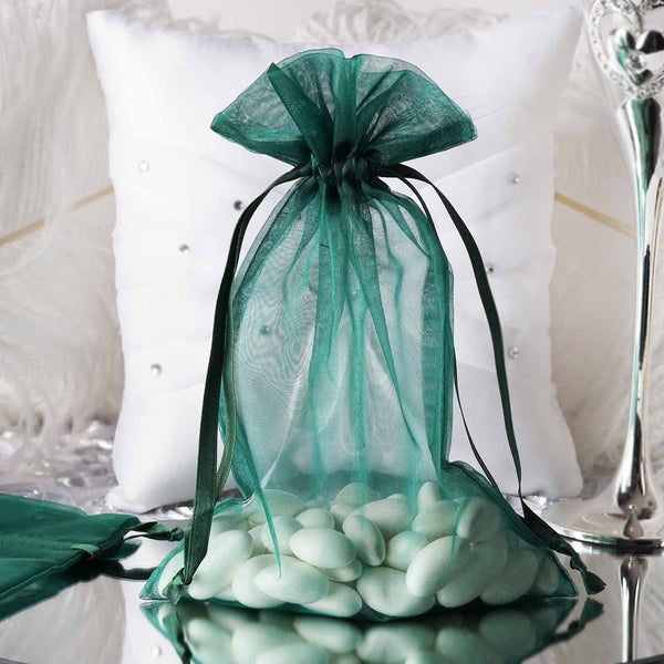 "Pack of 10 - 6""x9"" Hunter Emerald Green Organza Drawstring Pouch Candy Favor Bags, Gift Bags for Wedding Favors"