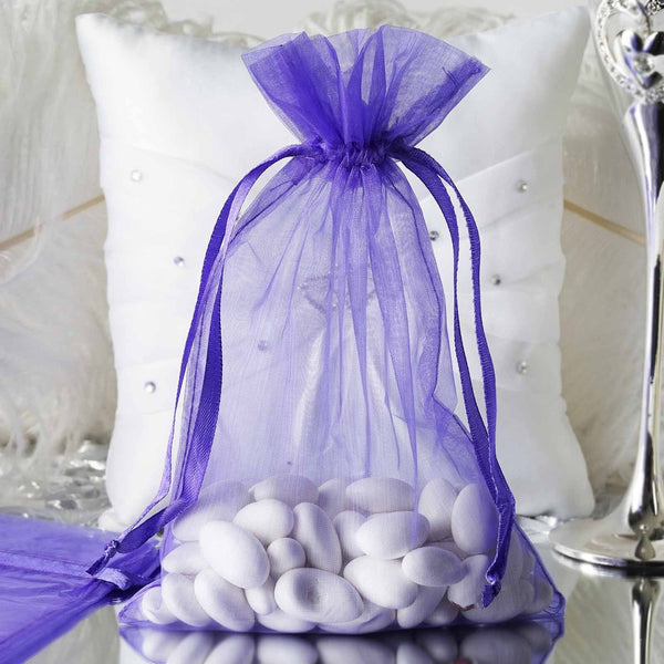 "Pack of 10 - 6""x9"" Purple Organza Drawstring Pouch Candy Favor Bags, Gift Bags for Wedding Favors"