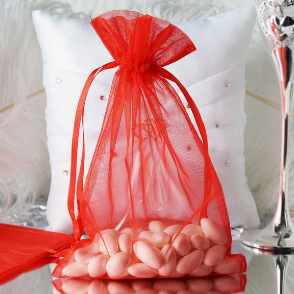 "Pack of 10 - 6""x9"" Red Organza Drawstring Pouch Candy Favor Bags, Gift Bags for Wedding Favors"