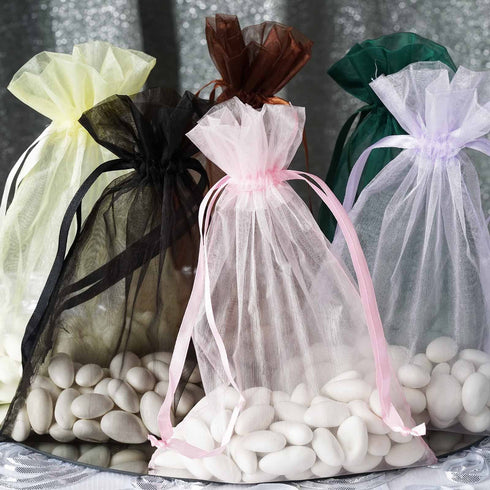 "10 Pack | 6""x9"" Organza Favor Bags Party Drawstring Pouches - Moss Green 