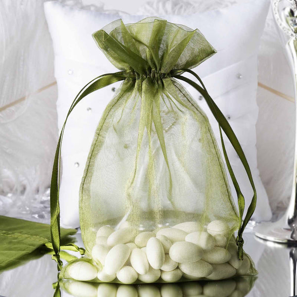 "Pack of 10 - 6""x9"" Moss Green Organza Drawstring Pouch Candy Favor Bags, Gift Bags for Wedding Favors"