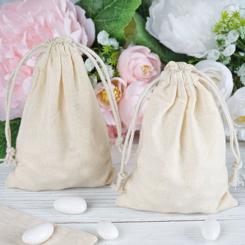"10 Pack | 4""x6"" Natural Classic Cotton Favor Bags Party Drawstring Pouches"