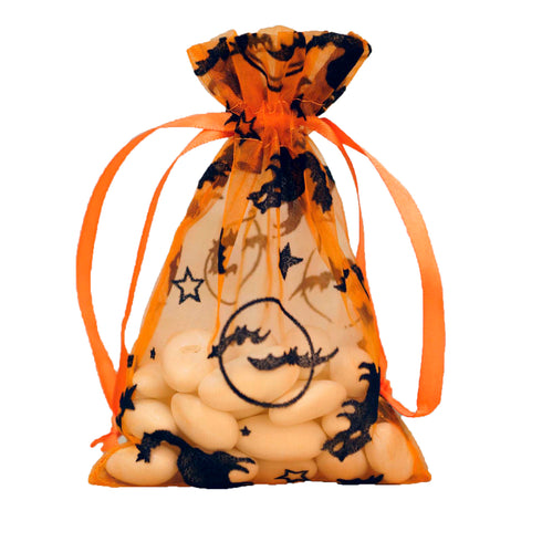 "4x6"" Halloween Themed Organza Bags - Orange - 10 Pack"