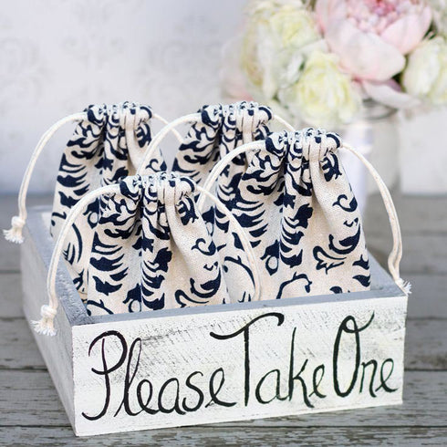 "10 Pack | 4""x6"" Black/White Damask Printed Cotton Favor Bags Party Drawstring Pouches"