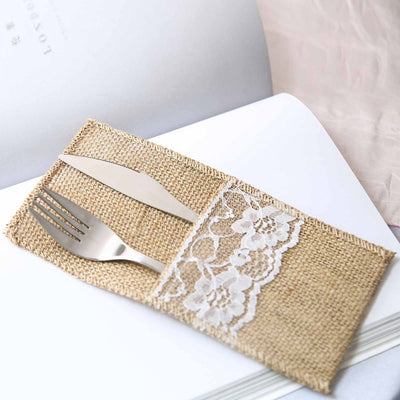 "10 Pack | 4"" x 8"" Natural Burlap Silverware Napkin Holders Cutlery Holders Pouch Flatware Organizer"