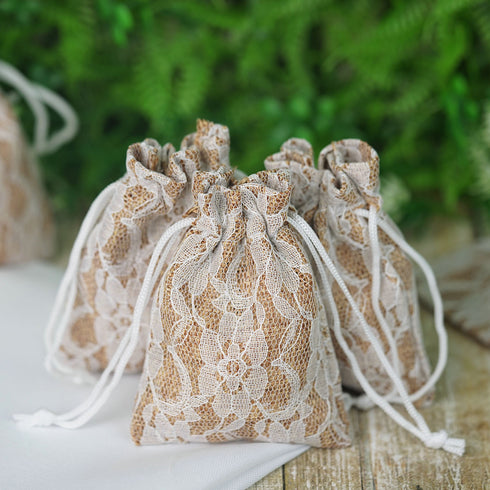 "10 Pack 3X4"" Rustic Burlap and Floral Lace Drawstring Favor Bags"