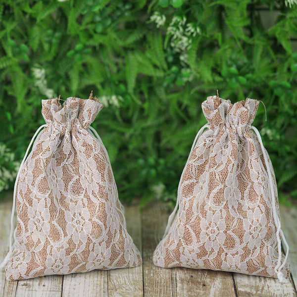"10 Pack - 5""x7"" Burlap and Lace Drawstring Bag, Wedding Favors Gift Bags"