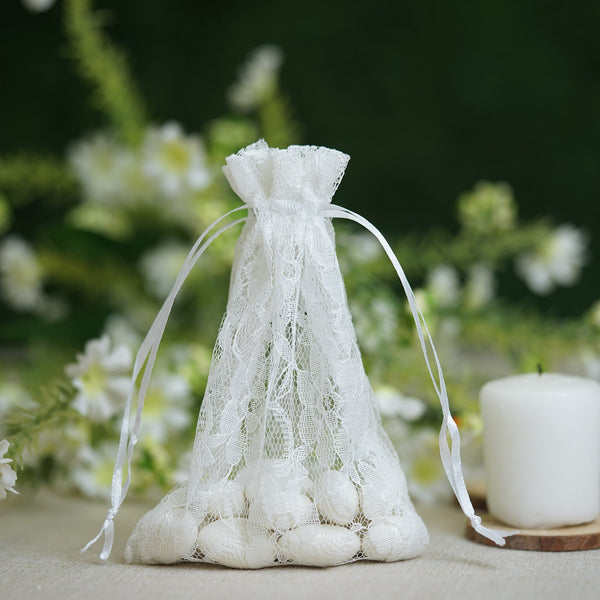 "10 Pack - 4""x6"" White Floral Lace Drawstring Pouch Favor Bags, Wedding Favors Gift Bags"