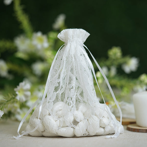 "Pack of 10 - 5""x7"" White Floral Lace Drawstring Pouch Favor Bags, Wedding Favors Gift Bags"
