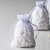 "10 Pack 4x6"" White Floral Lace Drawstring Favor Bags"