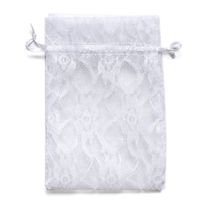 "10 Pack 5x7"" White Floral Lace Drawstring Favor Bags"