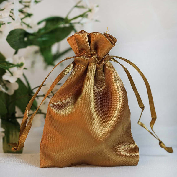 "Pack of 12 - 3""x4"" Antique Gold Satin Party Favor Bags, Drawstring Pouch Gift Bags"