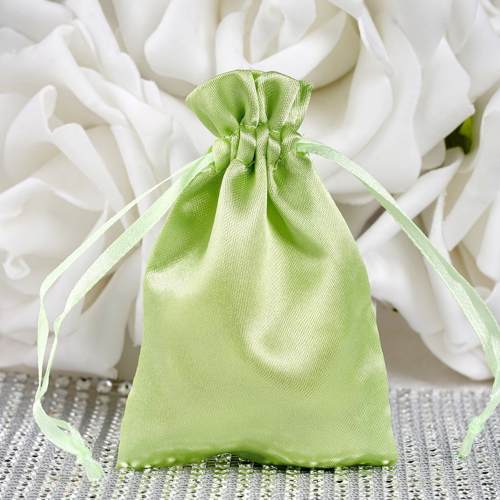 3X4 Apple Green Satin Bags-dz/pk