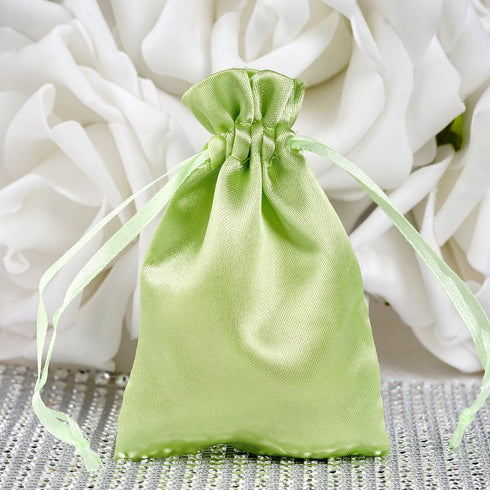 "3 x 4"" Apple Green Satin Bags"