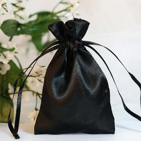 "12 Pack 3x4"" Black Satin Drawstring Bags"