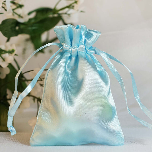 "Pack of 12 - 3""x4"" Baby Blue Satin Party Favor Bags, Drawstring Pouch Gift Bags"
