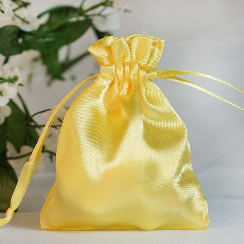 "12 Pack | 3""x4"" Gold Satin Favor Bags Party Drawstring Pouches"