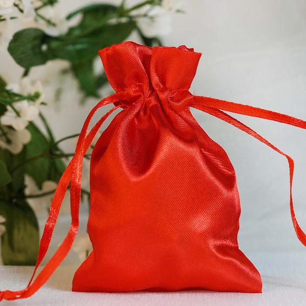 "Pack of 12 - 3""x4"" Red Satin Party Favor Bags, Drawstring Pouch Gift Bags"