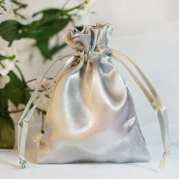 "Pack of 12 - 3""x4"" Silver Satin Party Favor Bags, Drawstring Pouch Gift Bags"