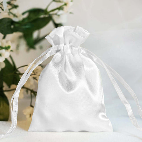 "12 Pack 3x4"" White Satin Drawstring Bags"