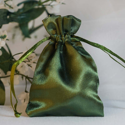 "12 Pack 3x4"" Willow Green Satin Drawstring Bags"
