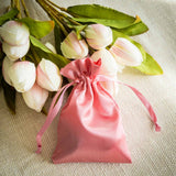 "12 Pack | 4""x6"" Rose Quartz Satin Drawstring Candy Bags"