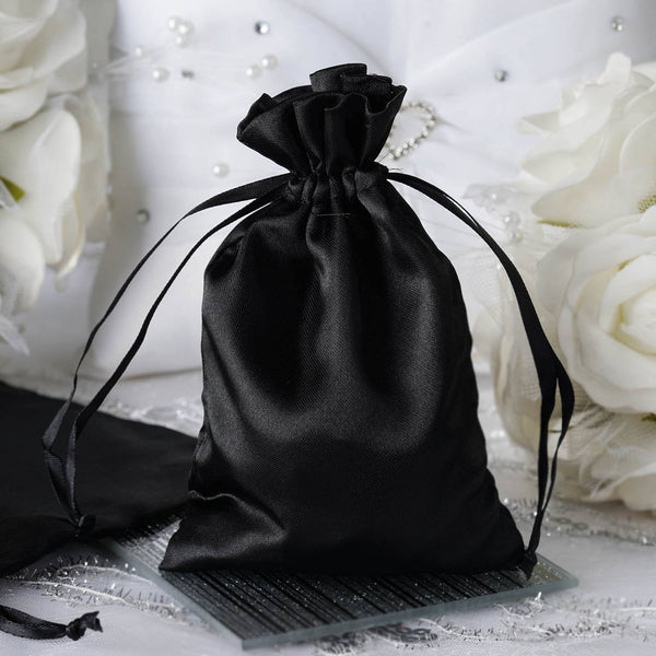"Pack of 12 - 4""x6"" Black Satin Party Favor Bags, Drawstring Pouch Gift Bags"