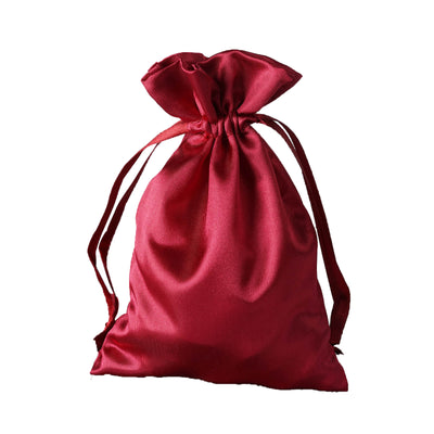 "4x6"" Satin Drawstring Bags - Burgundy - 12 Pack"
